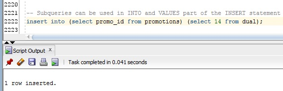 Subqueries can be used in INTO and VALUES part of the INSERT