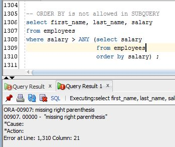 ORDER BY is not allowed in SUBQUERY – 1Z0-061 Oracle SQL