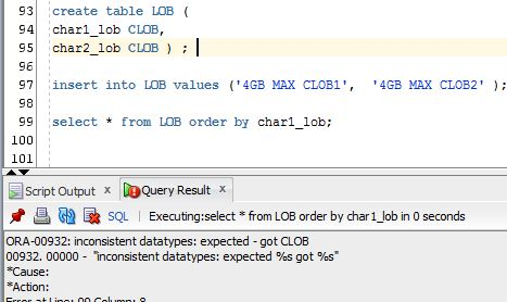 LOB data types won't allow you ORDER BY or GROUP BY be applied over